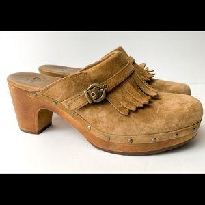 UGG suede clog 8 fringe buckle wood heel